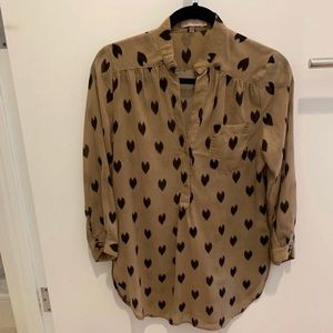 ModCloth brown shirt with black hearts
